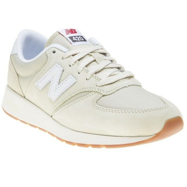 New Femme New Balance Natural 420 Suede Trainers Retro Lace Up