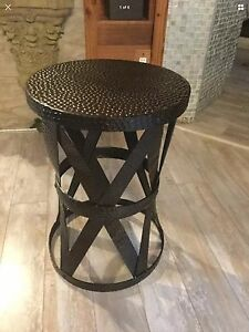 Image Is Loading New Antique Brass Hammered Finish Aluminum Accent Table