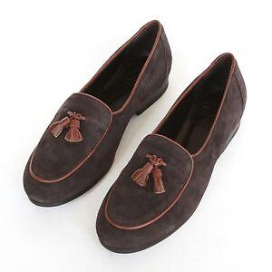 2b770928575 CB CECILIA BRINGHELI  500 brown suede shoes tassel flats mocassin ...