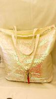 Victoria's Secret White Sequin Sparkly Tote Bag W/ Angel Wings, Purse,