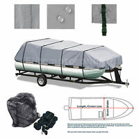 All Weather Trailerable Storage Pontoon Boat Cover Grey Fits 17' -20' L