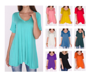 df8414adc88 Women's A-Line V-Neck Loose Short Sleeve Tunic Top T-Shirt Blouse ...
