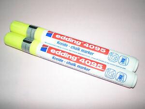 2x-Edding-4095-window-marker-yellow-2-3-mm-chalk-kuretake-for-NEW