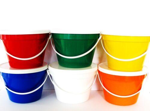 USA LEAD FREE FOOD SAFE 1 EACH COLOR 6 GALLON BUCKETS /& LIDS MFG