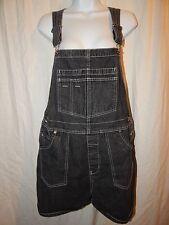 Xhilaration Shortalls XL Black Denim Jean Bib Shorts Juniors cotton Colored D74