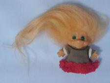 """VINTAGE 1960s Dam Scandia 2.5"""" Troll Doll Peach Hair, Green Eyes, Brown Dress"""