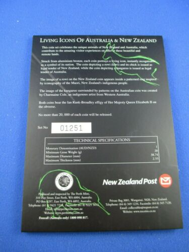$1 Two 2005 Living Icons of Australia /& New Zealand Coin Set.