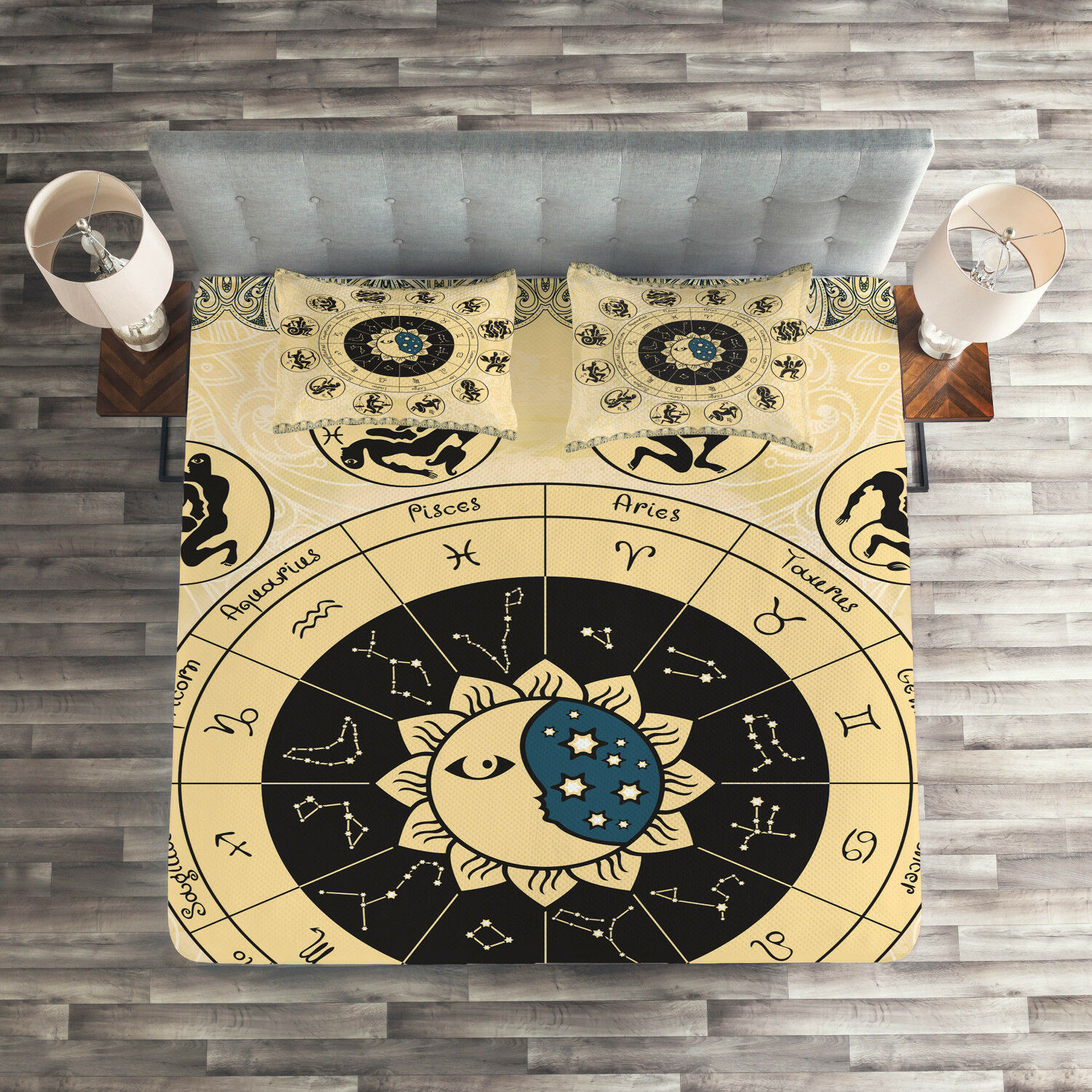Zodiac Quilted Coverlet & Pillow Shams Set, Constellation Chart Print