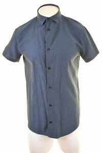 ARMANI-JEANS-Mens-Shirt-Short-Sleeve-XL-Blue-Slim-Fit-DA07