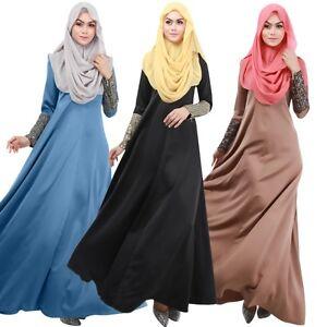 80fd270dc53 Maxi Dress Women Vintage Kaftan Abaya Islamic Muslim Cocktail Long ...