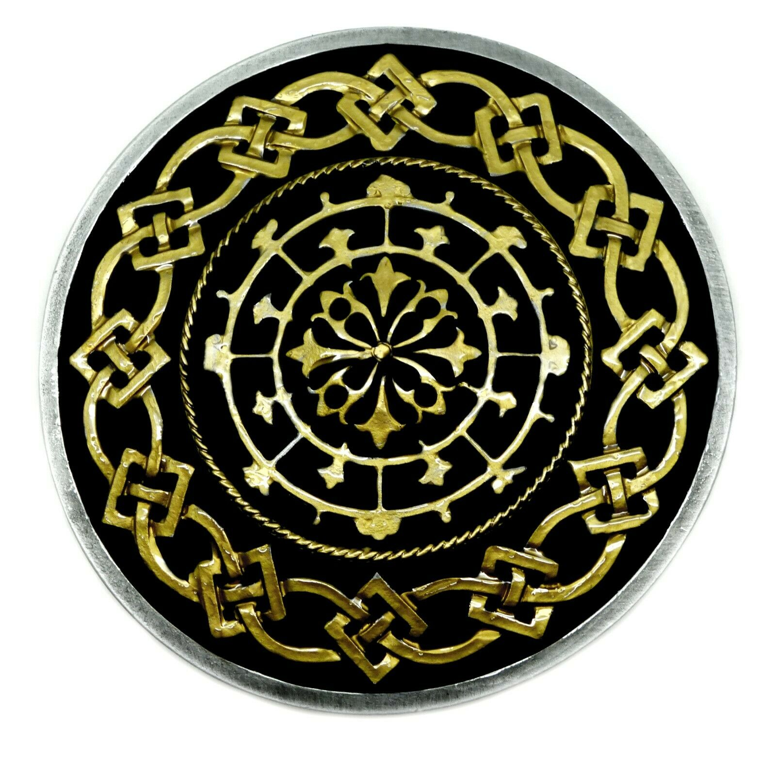 Celtic Knot Belt Buckle Circular Black & Gold Authentic Dragon Designs Product