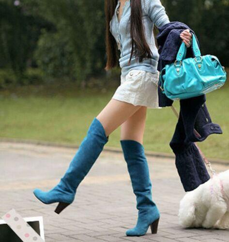 Nuevo Mujeres Muslo Sobre La Rodilla Alto Tacón Bajo Botas de Cuero Fruncido Imitación Gamuza Zapatos Abotinados