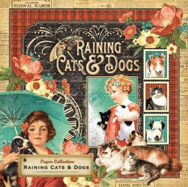 Graphic 45 Raining CATS and DOGS 12x12 Cardstock Stickers Tags Border Icons