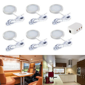 6pcs 12v led unterbauleuchte schrankleuchten k chenlampen decken runde lampe de ebay. Black Bedroom Furniture Sets. Home Design Ideas