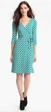 DIANE VON FURSTENBERG NEW JEANNE TWO VINTAGE CHAIN LINK BLUE SILK WRAP DRESS  0
