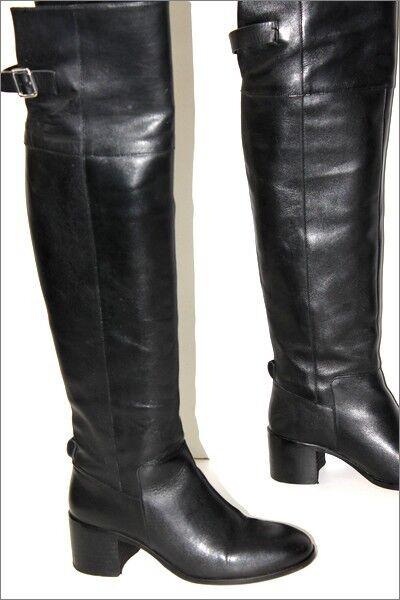 ZARA Basic botas Genoux Cuir Lisse negro negro negro Doublées Cuir T 38 TBE 3abf18