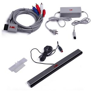 Nintendo-Wii-AC-Power-Adapter-Component-Video-Cable-Wired-Sensor-Bar-Bundle