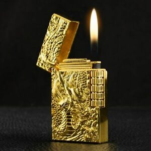 Ultra-Thin-Metal-Embossed-Lighter-Dragon-Wheel-Turbo-Flint-Gas-Lighter-Windproof
