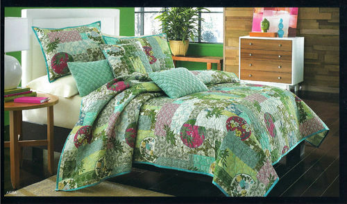 New J Queen New York  Akita Twin Quilt and Sham Set Floral 2pc blueE, PINK, Green