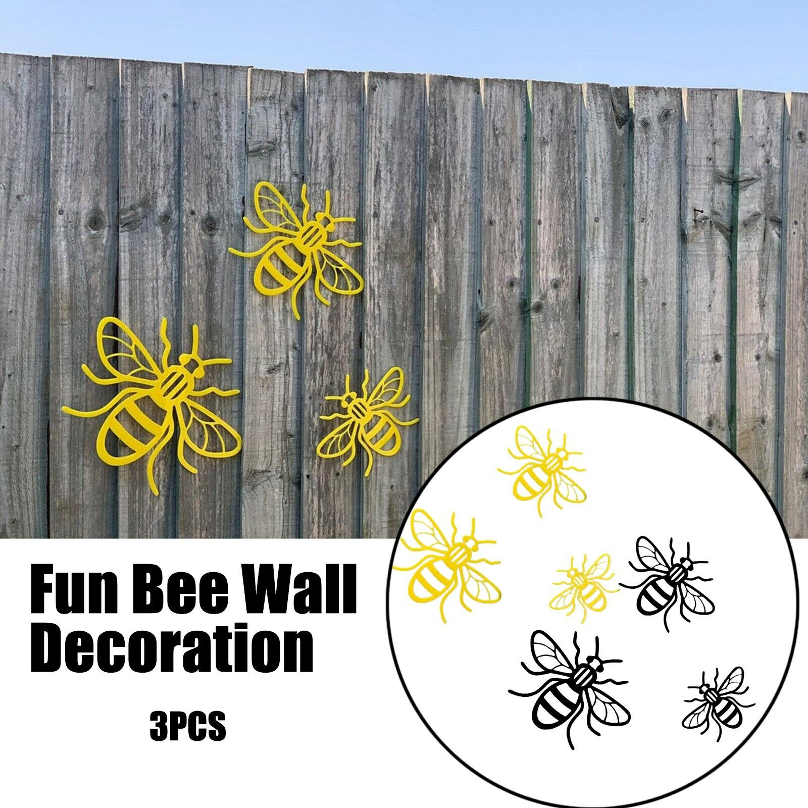 3PCS Bee Set For Garden Or Indoor Funny Wall Acrylic Decoration Sign Home Decor