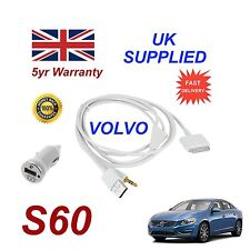 VOLVO S60 For Apple iPhone 3gs 4 4s iPod Audio Cable & 1.0A Power Adapter w
