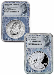 Deal-2019-P-W-Apollo-11-50th-Silver-Eagle-Set-NGC-PF70-FR-Moon-Core-SKU57916
