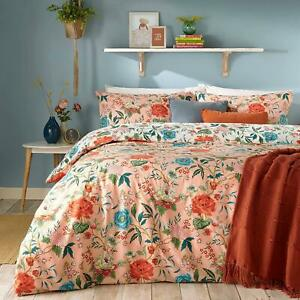 BRIGHT FLORAL BLOOMS FLOWERS PINK COTTON BLEND REVERSIBLE KING SIZE DUVET COVER