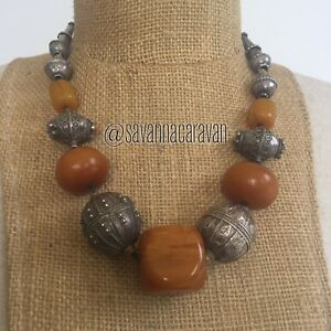 Amber-Moroccan-Resin-Yemen-Silver-Trade-Beads-Necklace-N257