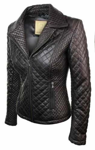 Ladies Women Real Leather Jacket Short Fitted Bikers Style Vintage Tan Brown Roc