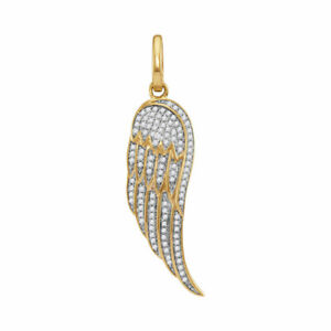 10k Gelbgold Herren Rund Diamant Feder Flügel Halo Anhänger Anhänger 1/3 Cttw Moderater Preis