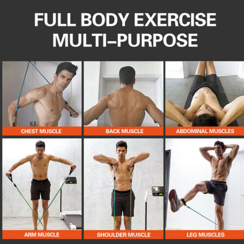 11pcs Resistance Trainer Set Exercise Fitness Tube Gym Workout Strength Bands +