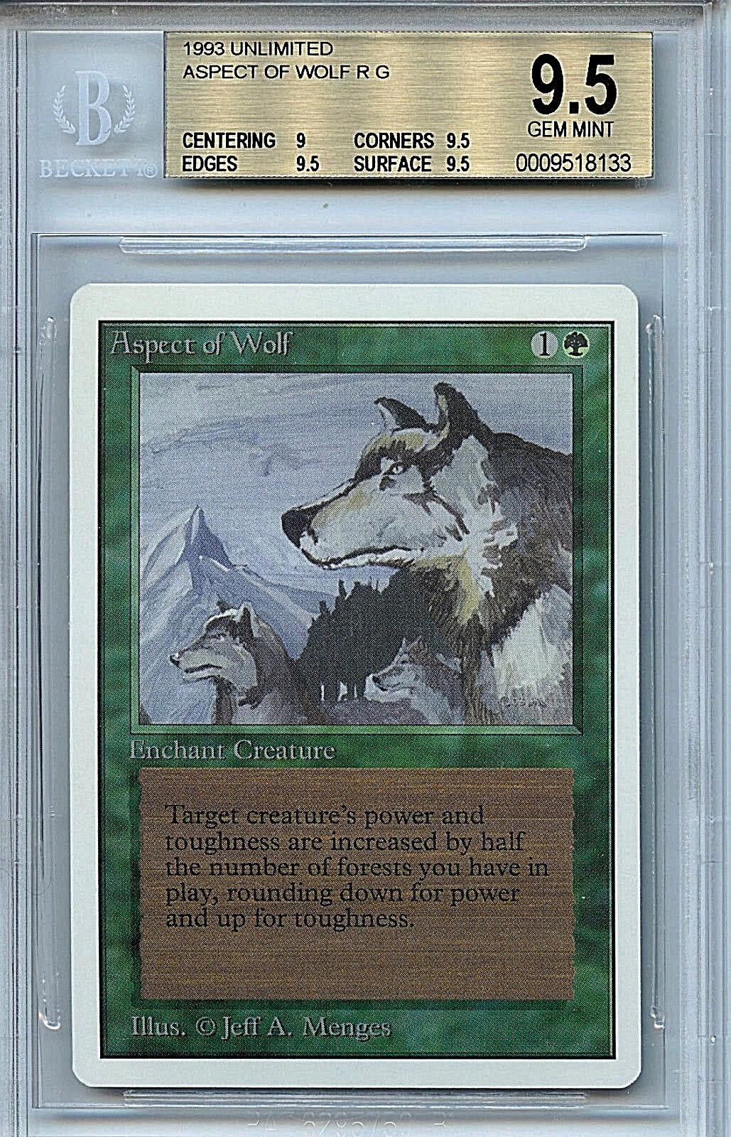 Mtg unbegrenzte aspekt wolf bgs 9,5 gem - magic the gathering wotc 8133