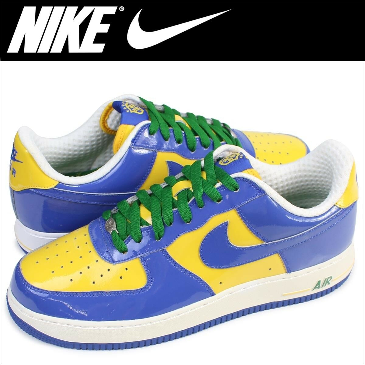 NIKE AIR FORCE 1 PRM BRAZIL WORLD CUP Neymar bluee Yellow Green White Men 9 shoes