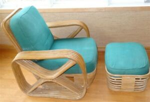 Details About 1940s Mid Century Frankl Style Rattan Chair U0026 Ottoman