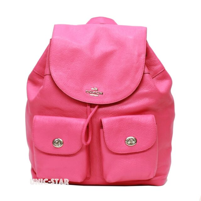 56ee4eb31f95 Coach F37410 Billie Backpack in Pebble Leather Silver bright Fuchsia ...