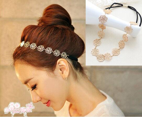 New Fashion Lovely Metallic Lady Hollow Rose Flower Elastic Hair Band Headband J
