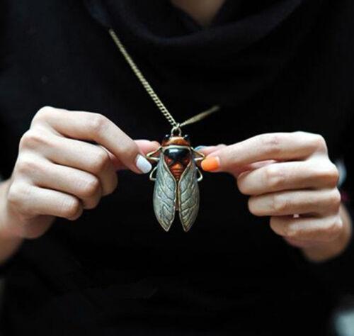 Charm Retro Vintage Bronze Tone Metal Insect Pendant Necklace HGUK