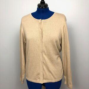 Port-Authority-Signature-Women-039-s-Size-XXL-100-Cotton-Brown-Button-Front-Sweater