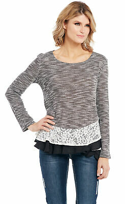 Vince Camuto Womens Gray Lace-Up Ribbed Trim Pullover Sweater Top XL BHFO 3080
