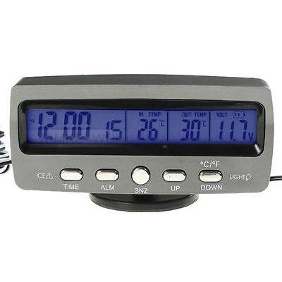 Digital LCD Auto KFZ Uhr Spannung Thermometer Innen Auß NEU