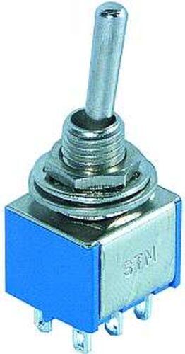 10x Mini-Kippschalter 2xUM EIN//AUS//EIN Nr.202