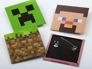 Minecraft-Officiel-Creeper-Steve-Metal-Broche-Badges-Paquet-De-4