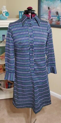 Lanvin VTG 1960s-70s Geometrical Blue Green White