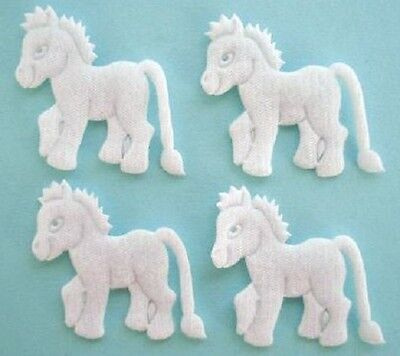 60 Felt Horse Applique/Baby/sewing/motif/bow/Craft/Embellishment/Trim H236-White