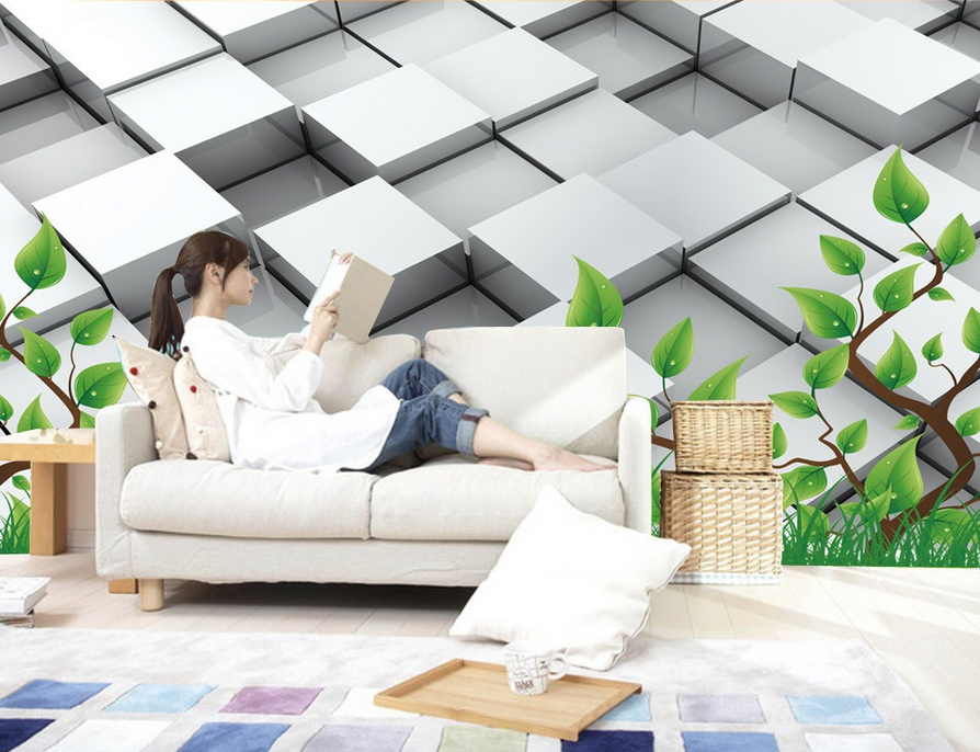 3D Grass Grid 533 Wallpaper Murals Wall Print Wallpaper Mural AJ WALL AU Lemon