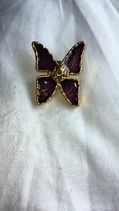 YSL Yves Saint Lauren  Vintage Very Rare Purple Butterfly Pin Brooch - <span itemprop='availableAtOrFrom'>middleton  manchester, Greater Manchester, United Kingdom</span> - YSL Yves Saint Lauren  Vintage Very Rare Purple Butterfly Pin Brooch - middleton  manchester, Greater Manchester, United Kingdom