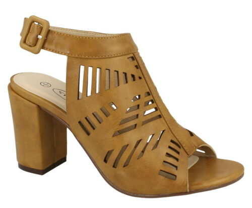 """*SALE* Spot On F10554 Ladies Camel 3.5/"""" Block Heel Casual Synthetic Summer Shoes"""