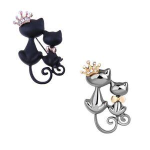 UK-CAT-KITTEN-amp-CROWN-BROOCH-Badge-Jewellery-Gift-Idea-Womens-Girls-Kitsch-Cute