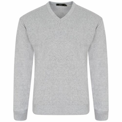 NEW MENS PLAIN LONG SLEEVE V NECK SOFT KNITTED CASUAL FORMAL JUMPER PULLOVER BIG