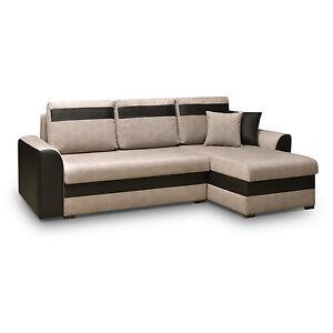 ecksofa sofa eckcouch mit schlaffunktion und zwei bettkasten l form tommy beige ebay. Black Bedroom Furniture Sets. Home Design Ideas